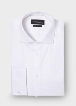 Chemise habillée Regular en coton façonné uni blanc 1 - Father And Sons
