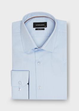 Chemise habillée Regular en coton façonné bleu ciel à motif fantaisie blanc 1 - Father And Sons