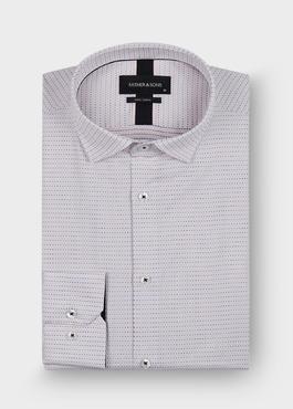 Chemise habillée Slim en coton façonné blanc à pois bleu et rose 1 - Father And Sons
