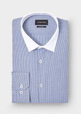 Chemise habillée Slim en popeline de coton à carreaux bleu marine 1 - Father And Sons