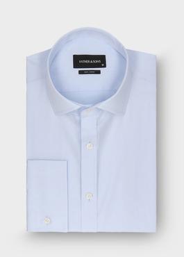 Chemise habillée Slim en popeline de coton uni bleu ciel 1 - Father And Sons