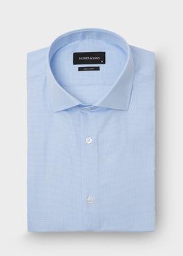 Chemise habillée Slim en popeline de coton à carreaux bleu ciel 1 - Father And Sons