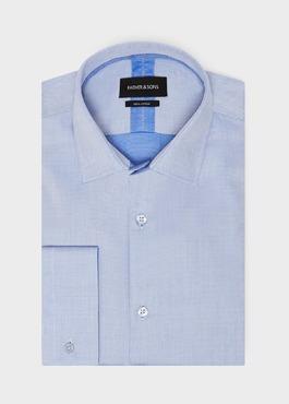Chemise habillée Slim en coton à motif fantaisie bleu azur 1 - Father And Sons