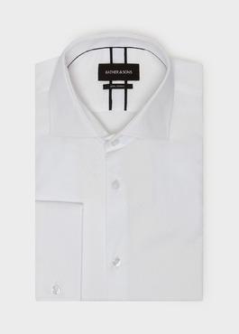 Chemise habillée Slim en coton façonné à motif fantaisie blanc 1 - Father And Sons