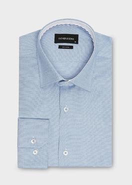 Chemise habillée Slim en popeline de coton azur à motif fantaisie 1 - Father And Sons