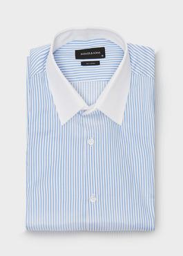 Chemise habillée Slim en popeline de coton à rayures bleu azur 1 - Father And Sons