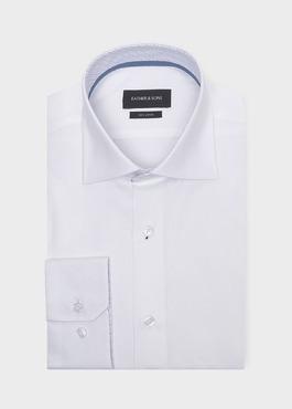 Chemise habillée Slim en coton façonné uni blanc 1 - Father And Sons