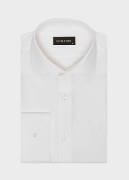 Chemise habillée non-iron Slim en popeline de coton uni blanc 1 - Father And Sons