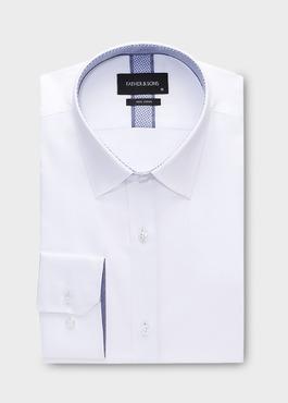 Chemise habillée Slim en popeline de coton uni blanc 1 - Father And Sons