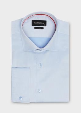Chemise habillée Slim en coton sergé azur à rayures blanches 1 - Father And Sons