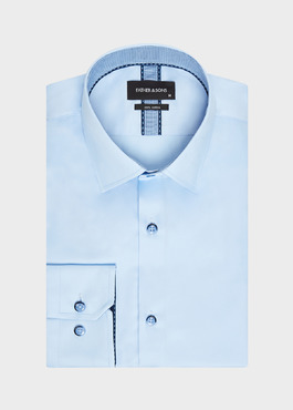 Chemise habillée Slim en satin de coton uni bleu ciel 1 - Father And Sons
