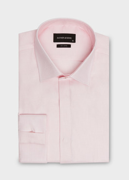 Chemise habillée Slim en coton façonné rose à motif fantaisie blanc 1 - Father And Sons