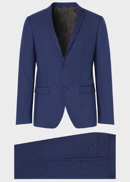 Costume 2 pièces Slim en laine bleu indigo Prince de Galles 1 - Father And Sons