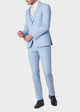 Costume 2 pièces Slim en laine unie bleu ciel 2 - Father And Sons