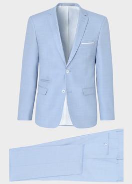 Costume 2 pièces Slim en laine unie bleu ciel 1 - Father And Sons