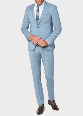 Costume 2 pièces Slim en laine unie bleu gris 2 - Father And Sons