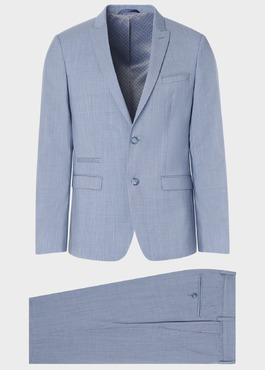 Costume 2 pièces Slim en laine unie bleu gris 1 - Father And Sons