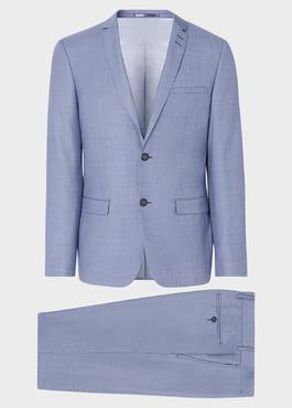 Costume 2 pièces Slim en laine unie bleue 1 - Father And Sons