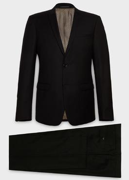 Costume 2 pièces Regular en laine façonnée unie noire 1 - Father And Sons