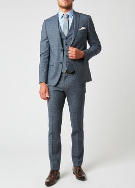 Costume 2 pièces Slim en laine bleu chambray Prince de Galles 2 - Father And Sons