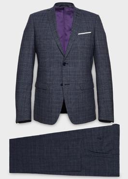 Costume 2 pièces Slim en laine bleu chambray Prince de Galles 1 - Father And Sons