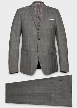 Costume 2 pièces Slim en laine gris clair Prince de Galles 1 - Father And Sons