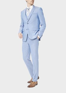 Costume 2 pièces Slim en laine stretch naturelle unie bleu clair 2 - Father And Sons