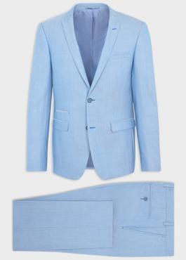 Costume 2 pièces Slim en laine stretch naturelle unie bleu clair 1 - Father And Sons