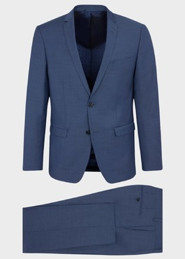 Costume 2 pièces Slim en laine stretch naturelle unie bleu chambray 1 - Father And Sons