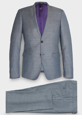 Costume 2 pièces Slim en laine unie bleu chambray 1 - Father And Sons