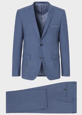 Costume 2 pièces Slim en laine unie bleu chambray 1 - Father And Sons