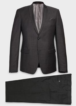 Costume 2 pièces Slim en laine façonnée unie grise 1 - Father And Sons