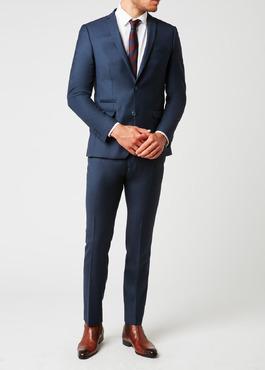 Costume 2 pièces Slim en laine façonnée unie bleu indigo 2 - Father And Sons
