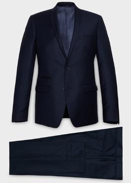 Costume 2 pièces Slim en laine façonnée unie bleu indigo 1 - Father And Sons