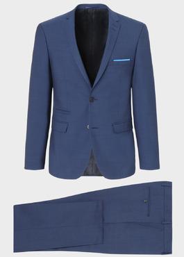 Costume 2 pièces Slim en laine unie bleu indigo 1 - Father And Sons