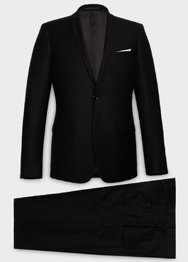 Costume 2 pièces Slim en laine façonnée unie noire 1 - Father And Sons
