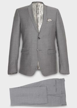 Costume 2 pièces Regular en laine façonnée unie gris clair 1 - Father And Sons