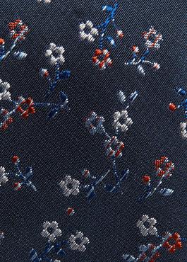 Cravate fine en soie indigo à motif fantaisie gris et rouge 2 - Father And Sons