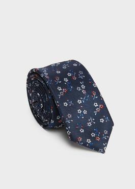 Cravate fine en soie indigo à motif fantaisie gris et rouge 1 - Father And Sons
