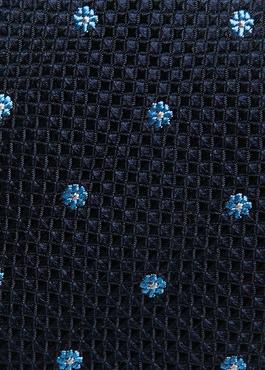 Cravate fine en soie indigo à motif fantaisie bleu 2 - Father And Sons