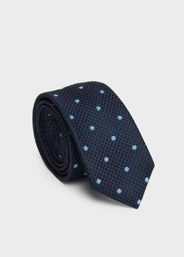 Cravate fine en soie indigo à motif fantaisie bleu 1 - Father And Sons