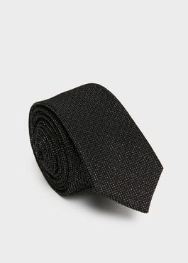 Cravate fine en soie noire à motif fantaisie blanc 1 - Father And Sons