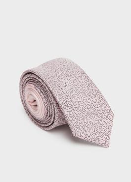 Cravate fine en soie rose pâle à motif fantaisie noir 1 - Father And Sons