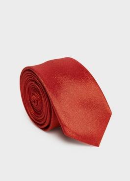 Cravate fine en soie unie orange 1 - Father And Sons