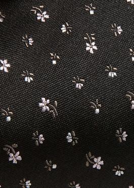 Cravate large en soie noire à motif fleuri rose clair 2 - Father And Sons