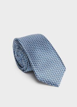 Cravate fine en soie azur à motif fantaisie gris 1 - Father And Sons