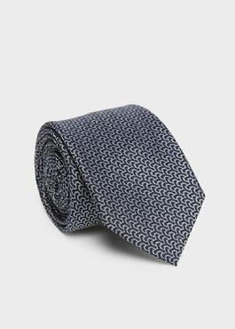 Cravate large en soie marine à motif fantaisie gris 1 - Father And Sons
