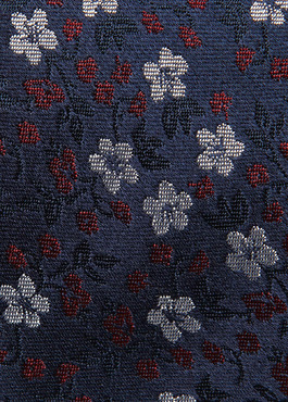 Cravate fine en soie marine à motif fantaisie bleu et bordeaux 2 - Father And Sons