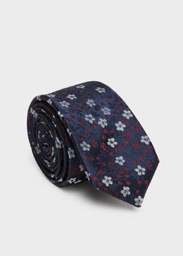 Cravate fine en soie marine à motif fantaisie bleu et bordeaux 1 - Father And Sons