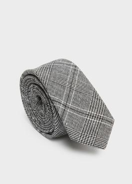 Cravate fine grise à motif fantaisie noir 1 - Father And Sons